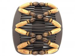 African Butterfly hair clip on brown interlocking combs with brown beads