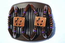 11cm African Butterfly hair clip on brown comb with a hint of purple beads