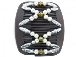 African Butterfly Hair Clip on Brown Interlocking Combs | Pretty Silver and Pearl Beads