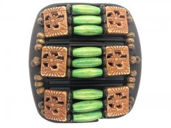 African Butterfly hair clip on brown comb with green wooden beads