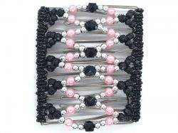 Pretty Black, Pink and Silver Large Butterfly Hair Clip 11 Prong - Great for lovely long thick hair