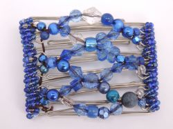 Pretty Blue Beaded One Clip medium - 7 prongs