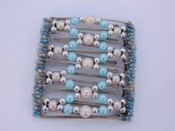 Blue and Pearl Original One Clip  - 9 prongs, approx 10cm