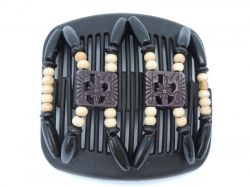 All Black African Butterfly hair clip on black comb