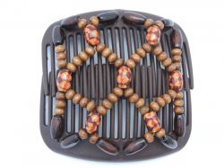 African Butterfly Hair Clip on Brown Interlocking Comb