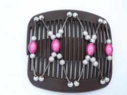 11cm African Butterfly hair clip on brown combs with pink and silver beads