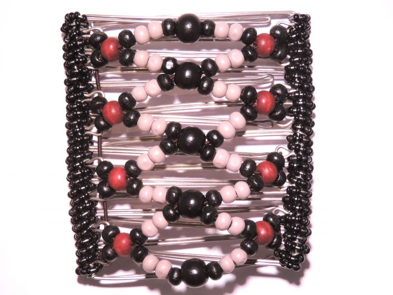 Pretty Black and Red  Beaded Original One Clip  - 9 prongs, approx 10cm