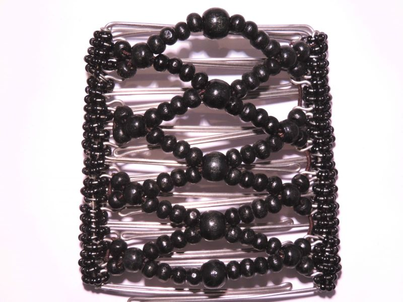 Black Beaded Original One Clip  - 9 prongs, approx 10cm