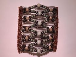 One Clip 11.5 cm Our Largest Hair Clips | Blue Brown and Mink Beads