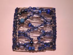 Pretty Blue Beaded Butterfly Hair Clip Large - 11 prongs for Extra Big Hair!