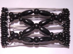 One Clip small - 5 prongs with all black beads
