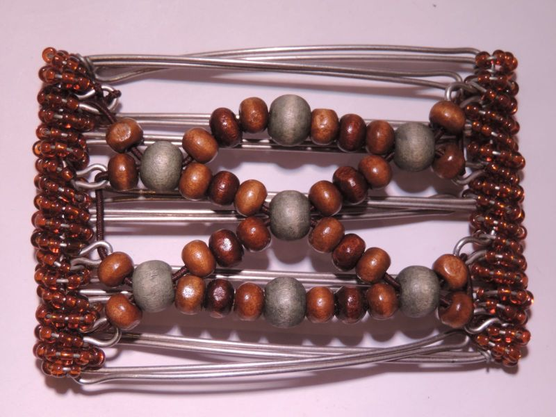 Brown Beads One Clip small - 5 prongs,     approx 4 cm