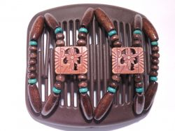 11cm African Butterfly hair clip on brown comb with brown beads and a hint of turquoise