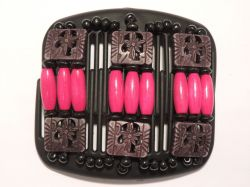 11cm African Butterfly hair clip on black comb | Black Beads with Pink Beads