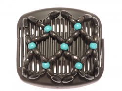 11cm African Butterfly hair clip on black comb | With Black and Turquoise Beads