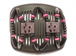 11cm African Butterfly hair clip on black comb | Black Beads with a hint of Pink