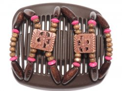 11cm African Butterfly hair clip on brown comb with small pink beads