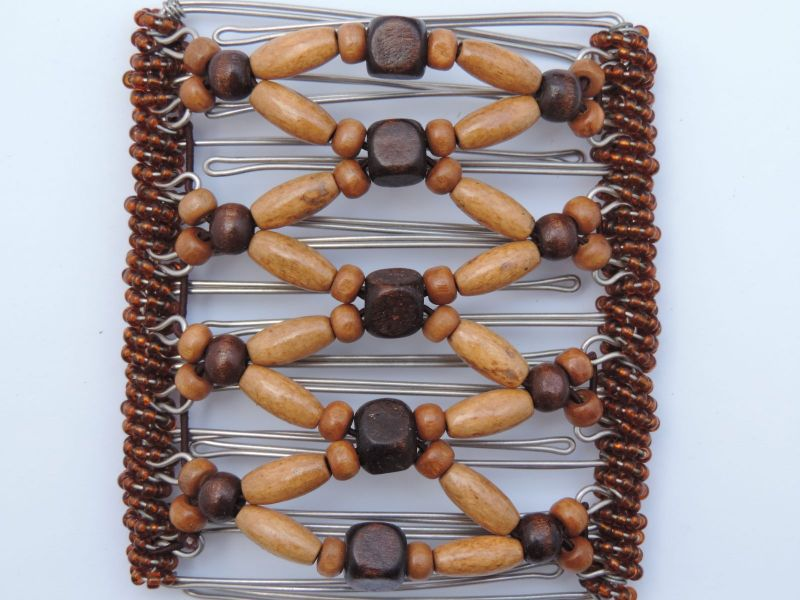 Two Tone Brown Wooden Beaded Butterfly Hair Clip 9 Prongs