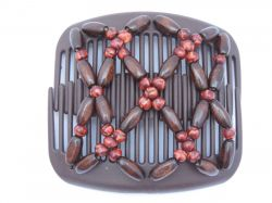 11cm African Butterfly hair clip on brown comb | Pretty Brown Beads