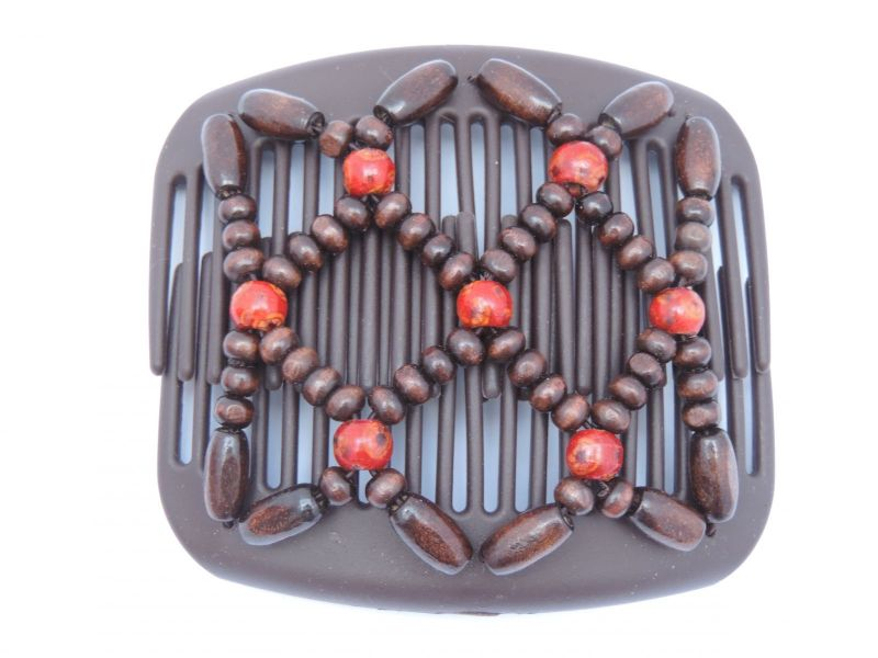 African Butterfly hair clip on brown interlocking combs with pretty red beads