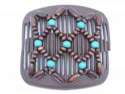 African Butterfly hair clip on brown combs | Brown Beads with a hint of Turquoise