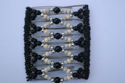 Pretty Black and Silver Large Butterfly Hair Clip 11 Prong - Great for lovely long thick hair