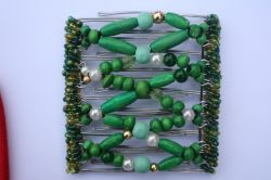 Green Wooden Beaded Hair Clip  - Beads may vary from picture