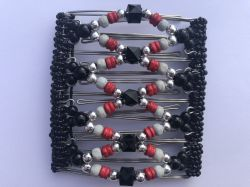 Stylish Black, Red and Silver Original Butterfly Hair Clip - 9 Prongs
