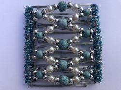 Turquoise and Pearl Beaded Original One Clip  - 9 prongs