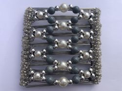 Grey Pearl and Silver  Butterfly Hair Clip  - 9 prongs