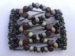 Brown and Green Wooden Beads on Medium Size Butterfly Hair Clip 7 Prongs