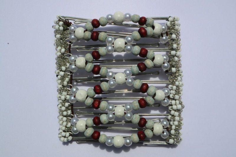 Burgundy & White  Beaded Original One Clip  - 9 prongs