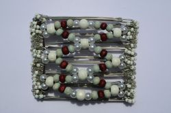 One Clip medium - 7 prongs with white and burgundy beads