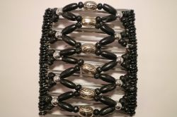Pretty Black and Silver Beaded One Clip 11 Prong  - Our Largest Hair Clips for Big Hair!