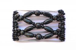One Clip small - 5 prongs with all black wooden beads