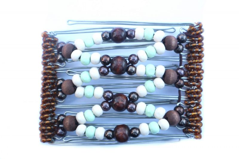 Wooden beaded One Clip medium - 7 prongs, approx 7cm