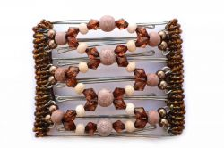 One Clip medium - 7 prongs with sparkly brown and cream beads