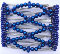 One Clip medium - 7 prongs with Electric Blue Beads