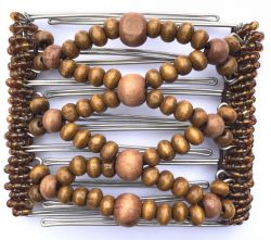 One Clip medium - 7 prongs Brown Wooden Beads