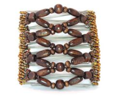 Brown Wooden Beaded Original One Clip  - 9 prongs