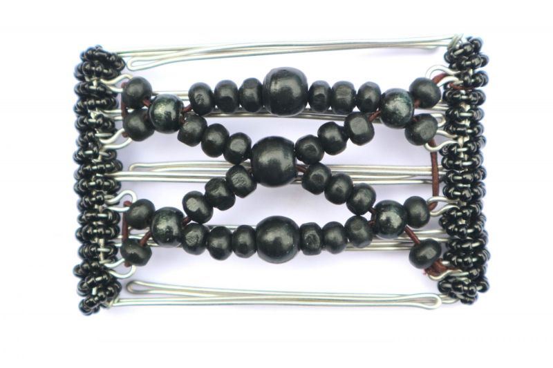 One Clip small - 5 prongs all black beads
