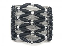 Black and SIlverButterfly Hair Clip  - 9 interlocking prongs